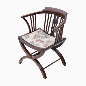 Antique Victorian Mahogany X Frame Corner Chair