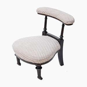Antique Victorian Ebonised Nursing Chair or Prie Dieu