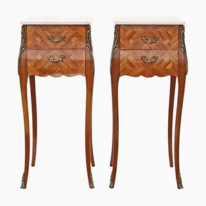 Antique French Inlaid Mahogany & Kingwood Nightstands, Set of 2