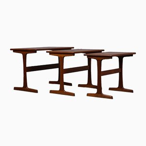 Tavoli a incastro in teak di Kai Kristiansen per Vildbjerg Møbelfabrik, anni '60