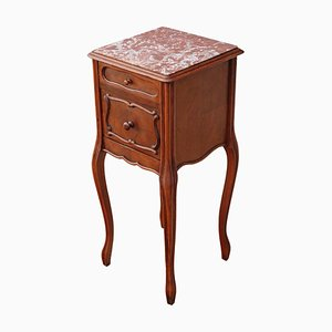 French Walnut & Marble Bedside Table, 1920s