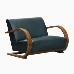 Italienisches Art Deco Sofa mit Gestell aus Nussholzfurnier