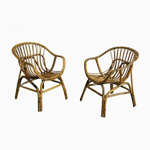 Vintage Bamboo Armchairs, 1960s, Set of 2