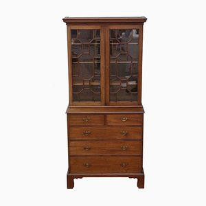 Antique Georgian Revival Mahogany Glazed Bookcase on Chest