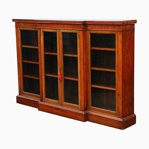 Large Antique Victorian Red Walnut Breakfront Glazed Bookcase, 1890s