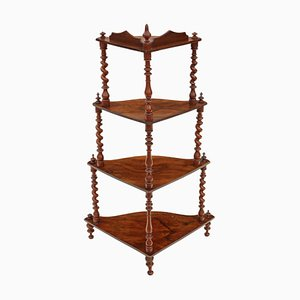 Antique Victorian Figured Walnut Corner Shelf