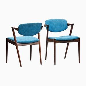 Sedie da pranzo nr. 42 in palissandro di Kai Kristiansen per Schou Andersen, anni '60, set di 6
