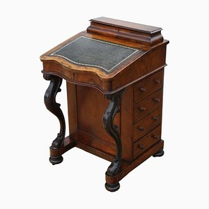 Victorian Figured Walnut Davenport, 1880s