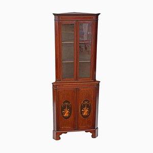 Antique Edwardian Inlaid Mahogany Corner Display Cabinet