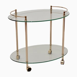 Vintage French Brass & Glass Drinks Trolley, 1980s