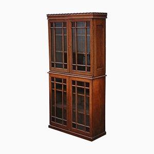 Antique Oak & Glass 2-Part Bookcase, 1890s