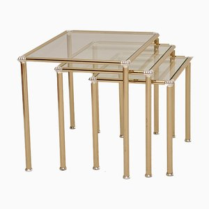Mesas nido francesas vintage de latón y vidrio, años 70