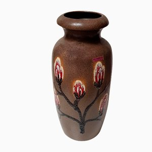 Jarrón de pie Fat Lava vintage de cerámica de Scheurich, años 60