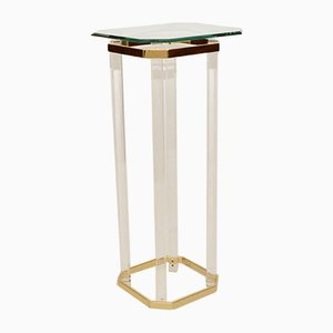 French Lucite & Glass Pedestal Table, 1980s