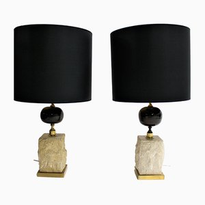 Lampe de Bureau Oeuf Vintage en Travertin, 1970s