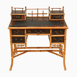 Antique Victorian Chinoiserie Bamboo Desk or Dressing Table