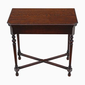 Georgian Revival Oak Folding Card Table from Maple & Co., 1920s