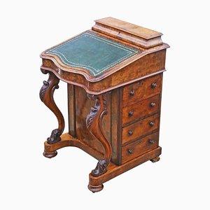 Antique Victorian Burr Walnut Davenport Writing Table, 1870s