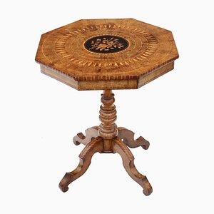 Tavolino da merceria vittoriano in legno di noce e legno di seta con ripiano a ribalta