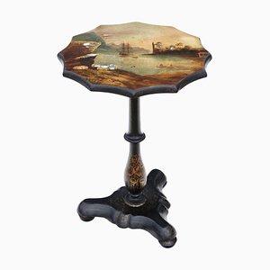 Mesa abatible victoriana antigua de papel maché decorado a mano
