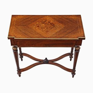 Antique Rosewood Marquetry Folding Card or Tea Table