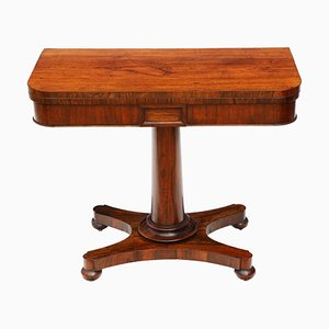 Antique Victorian Rosewood Folding Card Table, 1850s