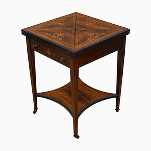 Antique Victorian Inlaid Rosewood Games Table, 1890s