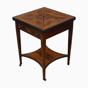 Tavolo da gioco vittoriano antico in legno di palissandro intarsiato, fine XIX secolo