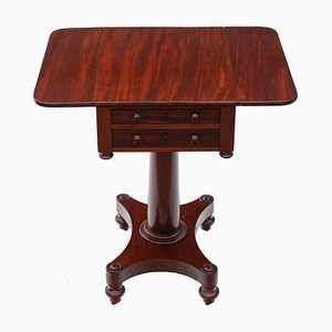19th Century Mahogany Two-Drawer Drop Leaf Work Table