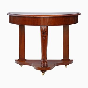 Antique Victorian Mahogany Demi-Lune Console Table, 1890s