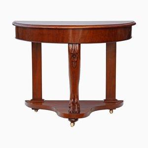 Table Console Antique Demi-Lune Victorienne en Acajou, 1890s