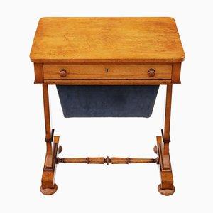 Table à Couture Antique William IV en Érable Moucheté, 1830s