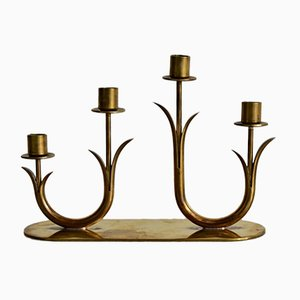 Brass Candlestick Holders by Gunnar Ander for Ystad Metal, 1950s