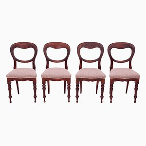 Antique Victorian Mahogany Balloon Back Dining Chairs, 1890s, Set of 4