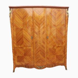 Geschwungene Garderobe aus Nussholz mit Intarsien, 1930er