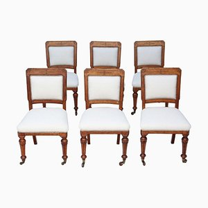 Antique Victorian Oak Dining Chairs, 1890s, Set of 6