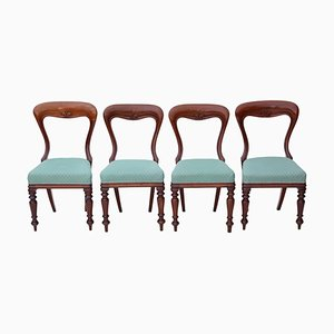 Antique Victorian Mahogany Balloon Back Dining Chairs, Set of 4