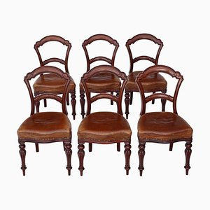 Antique Victorian Leather & Walnut Balloon Back Dining Chairs, 1880s, Set of 6
