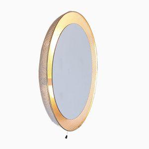 Espejo de metal blanco perforado iluminado de Floris Fiedeldij & Mathieu Matégot para Artimeta, años 50