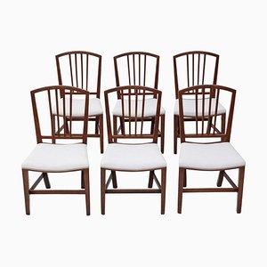 Georgische viktorianische Esszimmerstühle aus Mahagoni, 6er Set