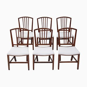 Victorian Georgian Revival Mahogany Dining Chairs, Set of 6