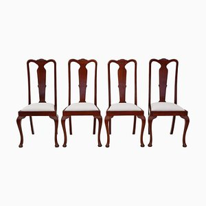 Queen Anne Revival Mahogany High Back Chairs, 1920s, Set of 4