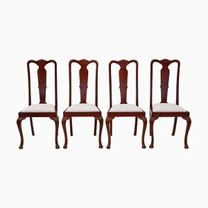 Queen Anne Revival Stühle aus Mahagoni mit hohen Rückenlehnen, 1920er, 4er Set