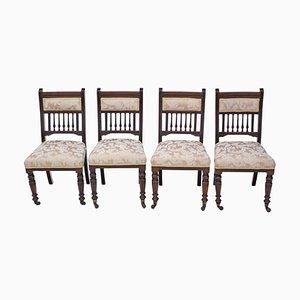 Sedie da pranzo vittoriane in legno di noce, fine XIX secolo, set di 4
