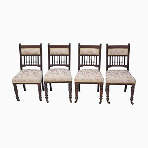 Victorian Walnut Dining Chairs, 1890s, Set of 4