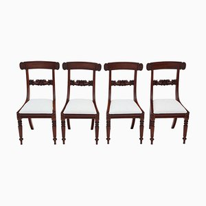 William IV Mahogany Bar Back Dining Chairs, 1830s, Set of 4