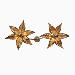 Brass Flower Double Wall Light by Willy Daro for Massive Lighting, 1970s