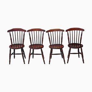 Victorian Penny Windsor Kitchen Chairs, 1890s, Set of 4