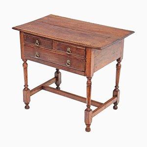 Mesa auxiliar georgiana antigua de madera frutal y nogal, siglo XVIII