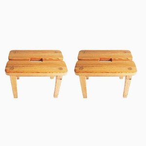 Swedish Solid Pine Stools, 1970s, Set of 2